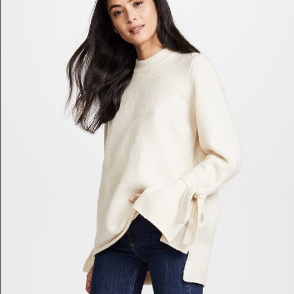 4149a84262 NWT Madewell Tie-Cuff Pullover Sweater Ivory Small